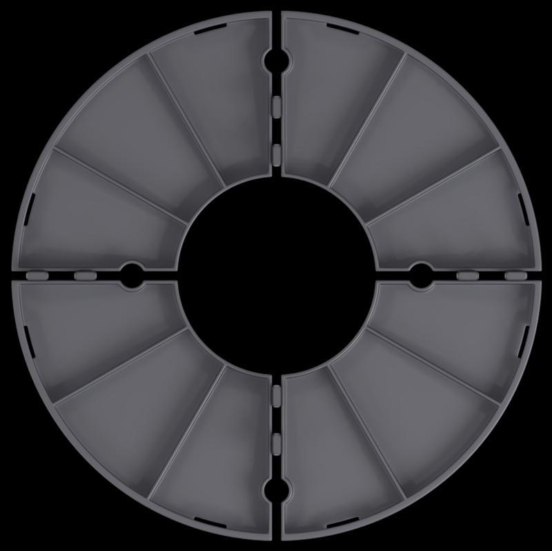 łatwy podział podstawki modułowej na4 części