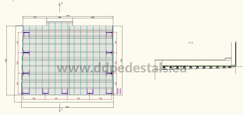 design of a raised ventilated terrace on adjustable pedestals made of boards and joists