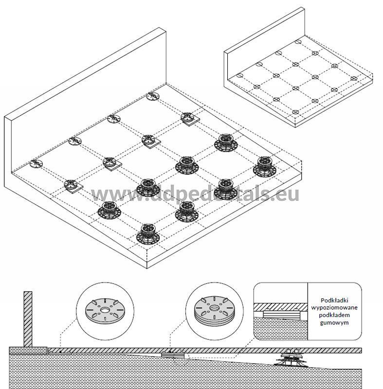 podniesiony taras zpłyt ceramicznych nawspornikach stałych niskich