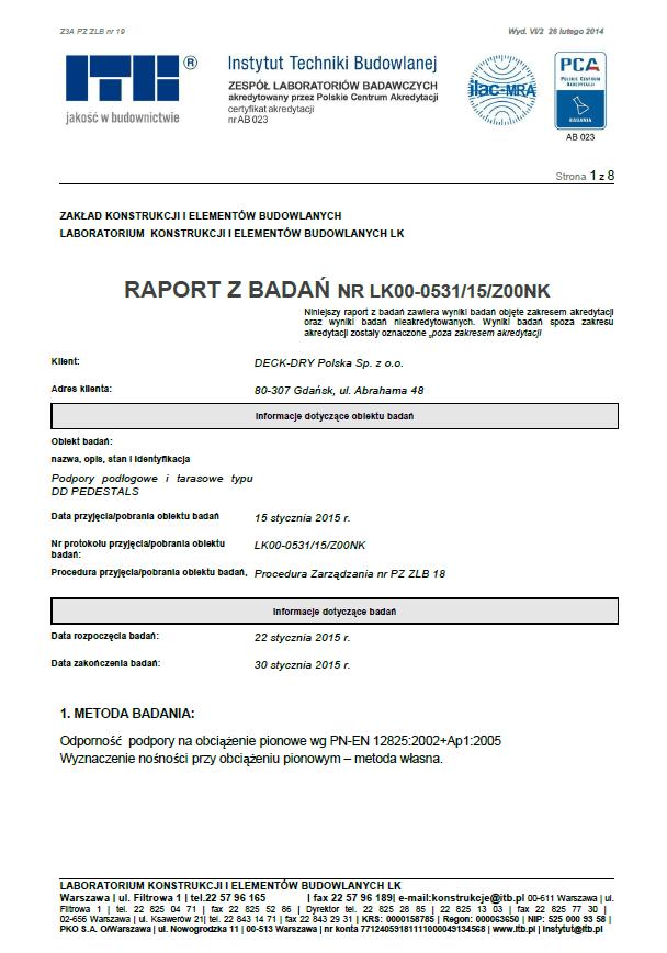 raport zbadań przeprowadzonych winstytucie techniki budowlanej ITB