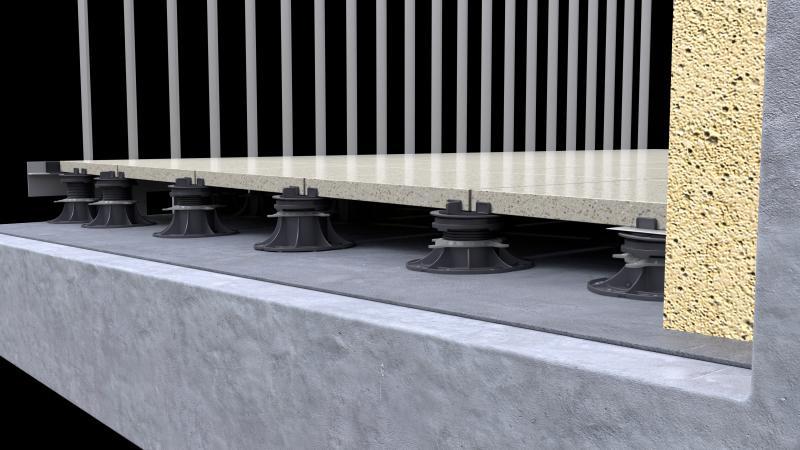 Belüftete Terrasse auf einer Balkone auf Stelzlager Standard Serie verlegt.
