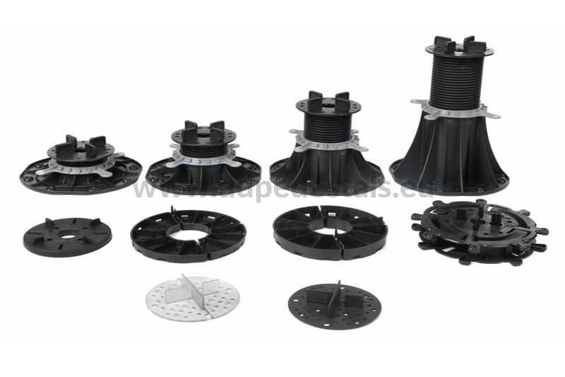 types of adjustable pedestals and support pads  for ventilated terraces