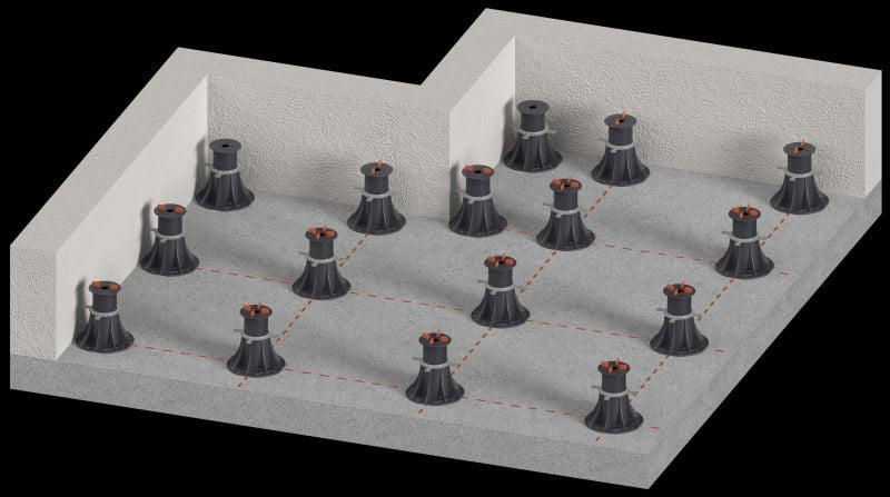 terrace made of ceramic tiles for adjustable pedestals for terrace tiles
