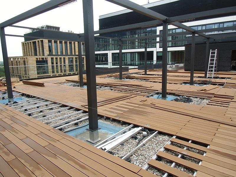 composite terrace on terrace joists and adjustable pedestals