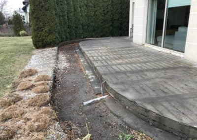 cleaned ground for a new ventilated terrace