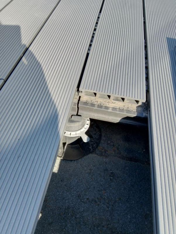 composite raised terrace on adjustable pedestals