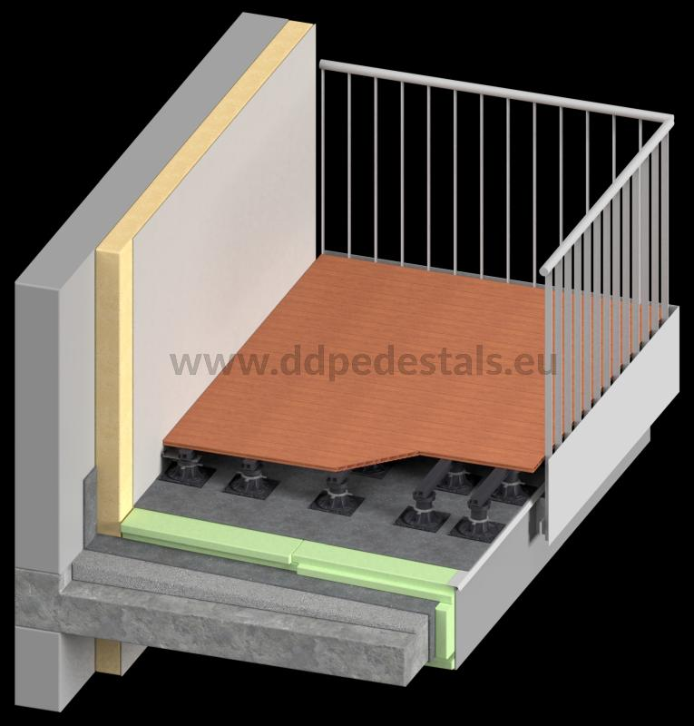 ventilated terrace made of composite boards on adjustable pedestals