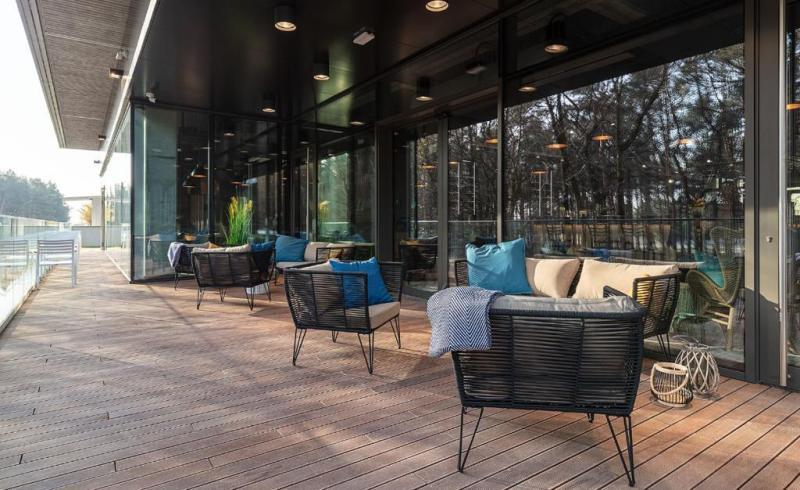 exotic wooden terrace on adjustable deck pedestals