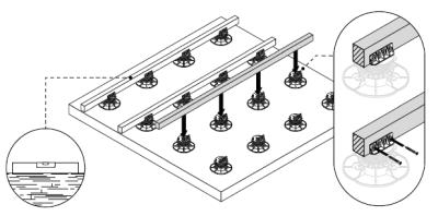 laying joists on adjustable pedestals with joists adapters