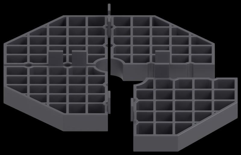 Modulare Plattenlager 16mm Aufteilung in Teile