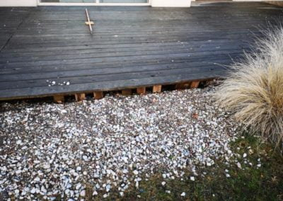 old damaged wooden terrace before repair