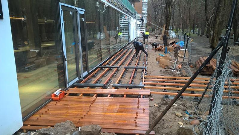 sidewalk from exotic wood on adjustable deck  pedestals