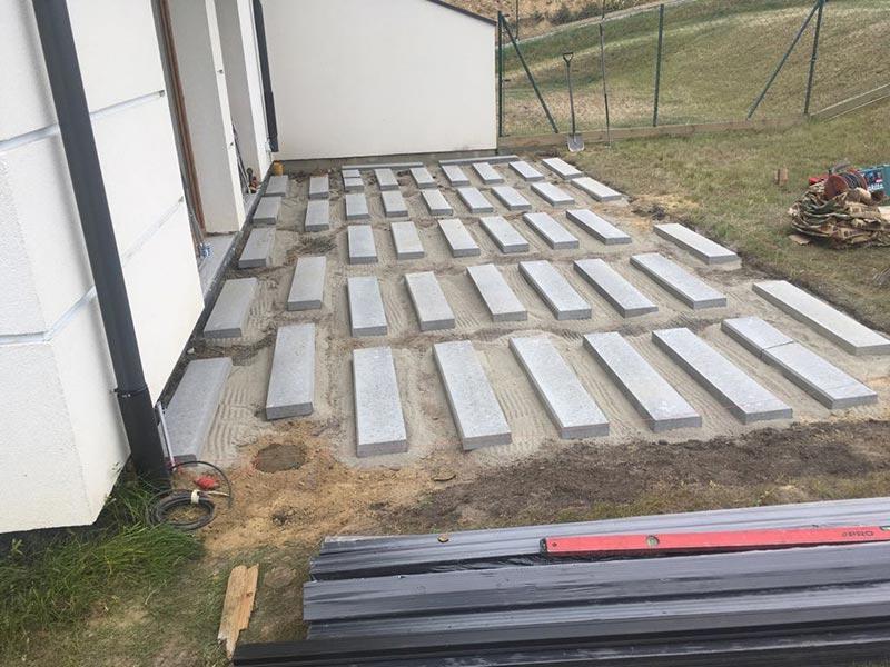 soil preparation for aventilated terrace in the garden