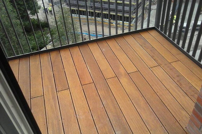 raised terrace from wooden boards on adjustable pedestals