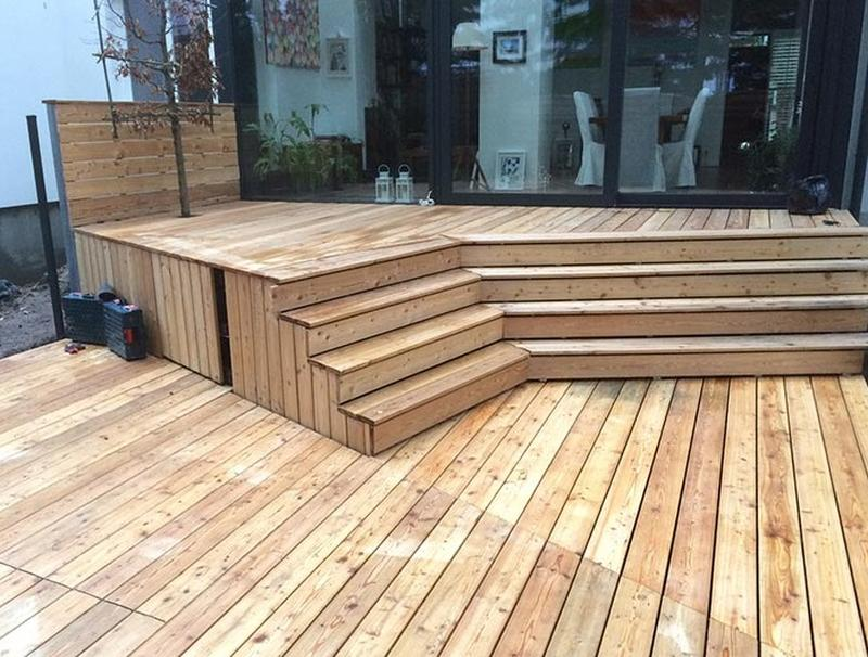 wooden raised terrace from Siberian Larch wood