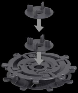 rotary disc with jointing sheets for adjustable pedestals for terrace tiles
