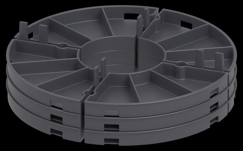 Man kann die modulare Plattenlager für Terrassenplatten stapeln.