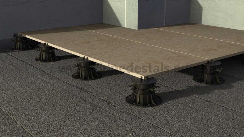 adjustable pedestals for ventilated terrace strength