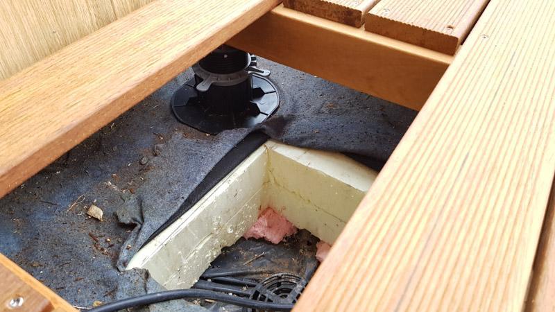 terrace construction, inlet, inspection drain