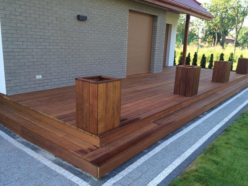 raised terrace from exotic wood on plastic adjustable pedestals