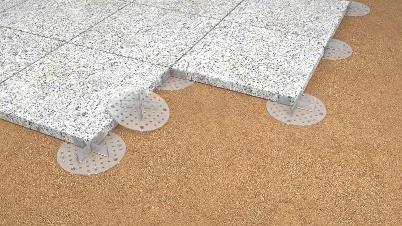 tiles  laid on gravel on 2 mm  support pads