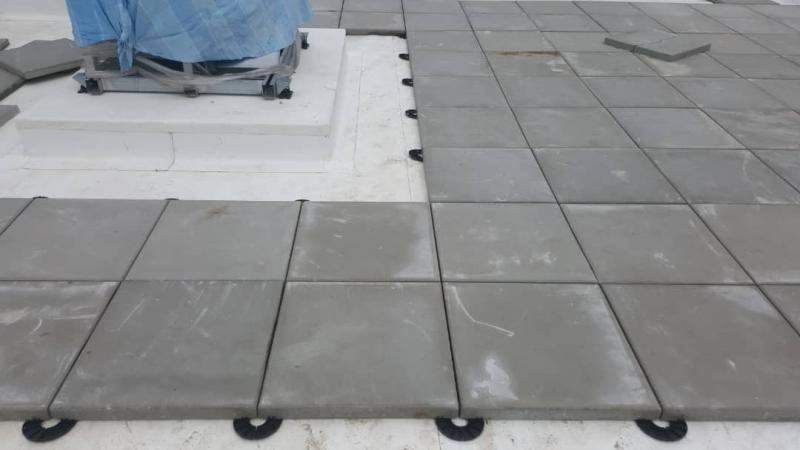 terrace raised from external tiles on low terrace support pads