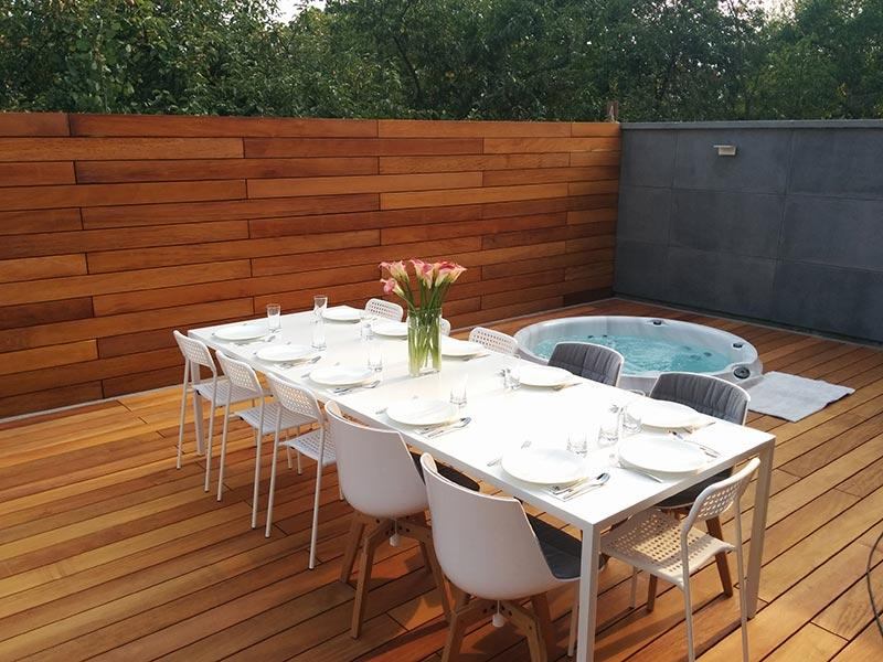 wooden ventilated raised terrace with jacuzzy