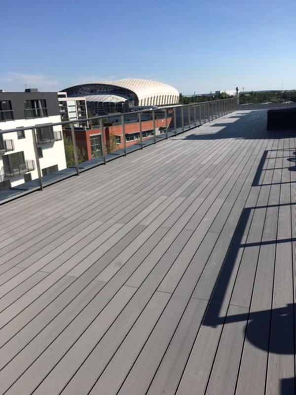 raised terrace from composite boards on adjustable pedestals