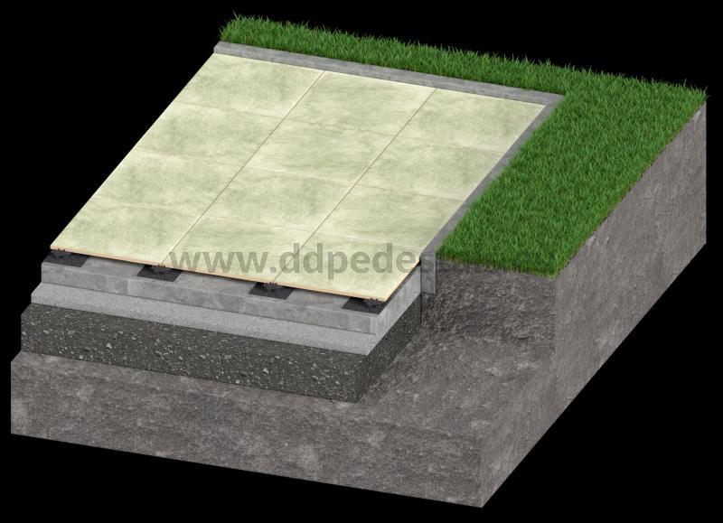 low ventilated terrace on adjustable pedestals