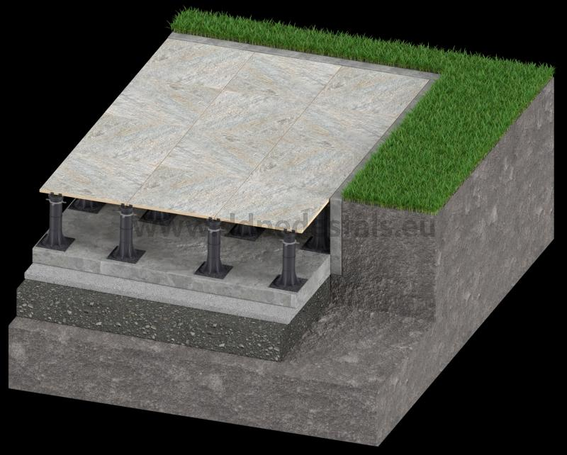 designed terrace ventilated on the ground with terrace adjustable pedestals