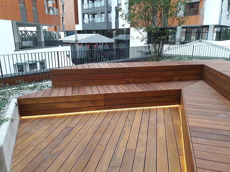 wooden terrace from wooden boards on adjustable pedestals
