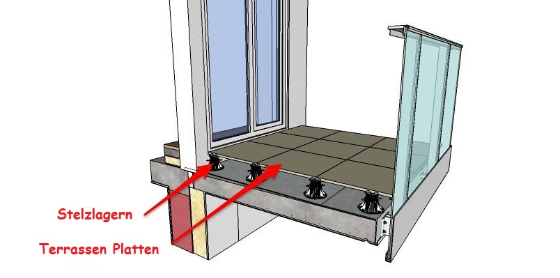 Ein Beispiel für eine erhöhte belüftete Terrasse mit verlegten Terrassenplatten. Die Bretter legen horizontal und in der richtigen Höhe in Bezug auf den Boden im Inneren. Darunter befindet sich ein Boden der für die Entwässerung rückläufig ist. In diesem Fall handelt es sich um einen heißsiegelbaren Dachpappe.