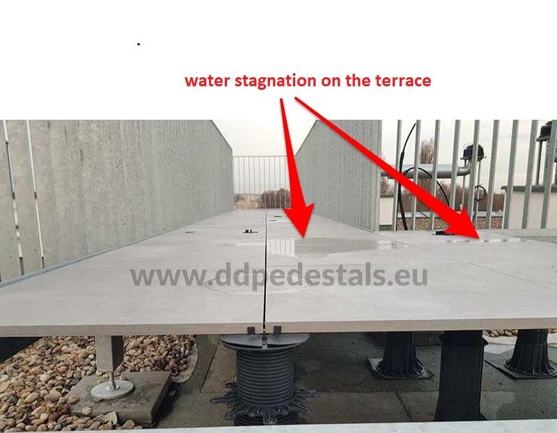 Terrace-tiles-on adjustable pedestals -water-stands
