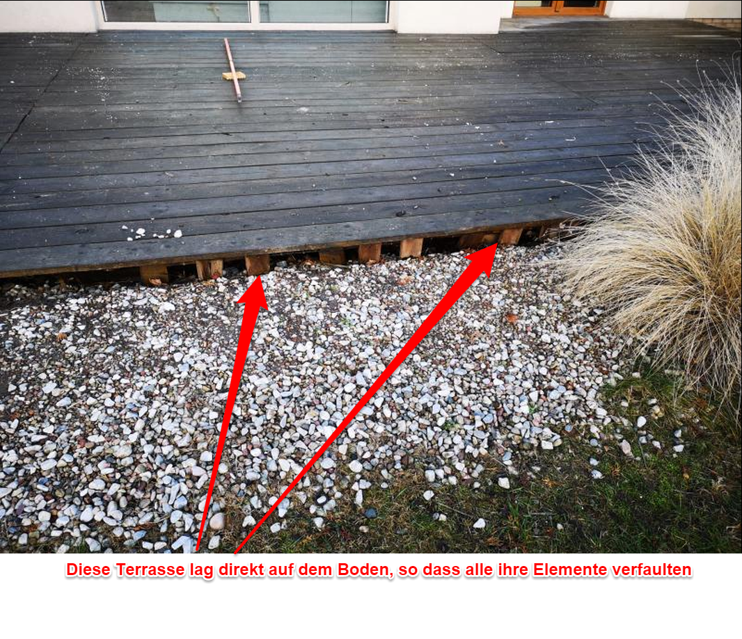 Verfallende Terrassenbretter -Terrassen Reparatur.