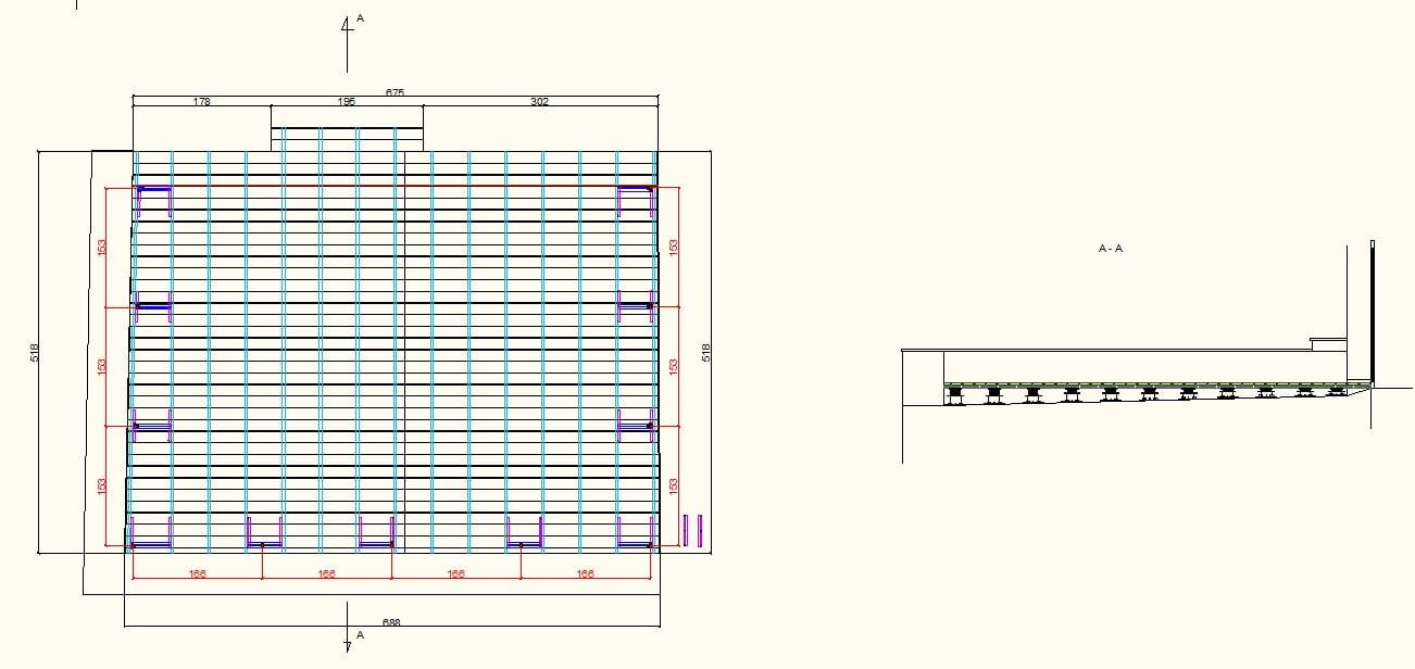 Das Projekt einer erhöhten belüfteten Terrasse auf verstellbaren Stelzlagern aus Brettern und Balken.