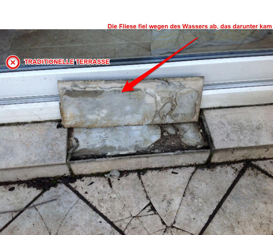 Die Terrassenfliesen wurden durch Frost vernichtet,die Reparatur ist erforderlich.