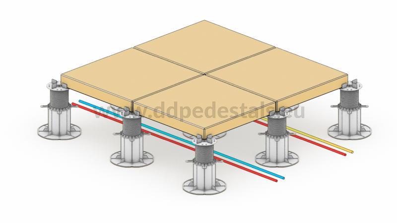 Doppelboden Terrasse,Sie stapeln Medien, Wasser, Gas usw. sicher und ohne Kollision unter der Terrasse.