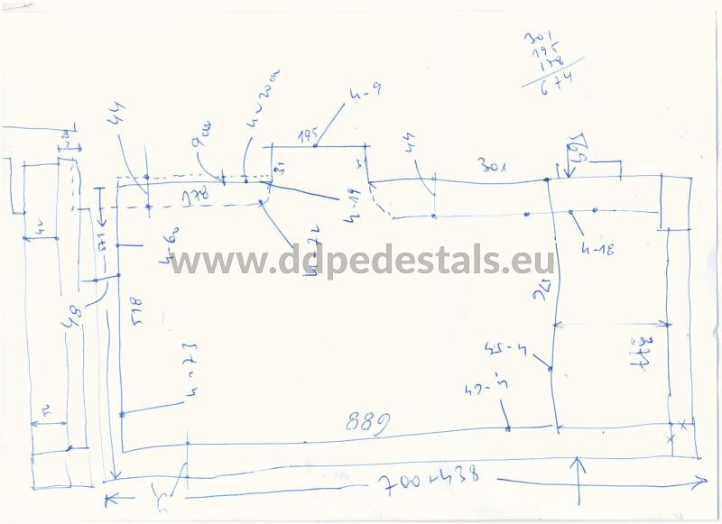 drawing dimensions inventory of the terrace that will be laid on adjustable supports