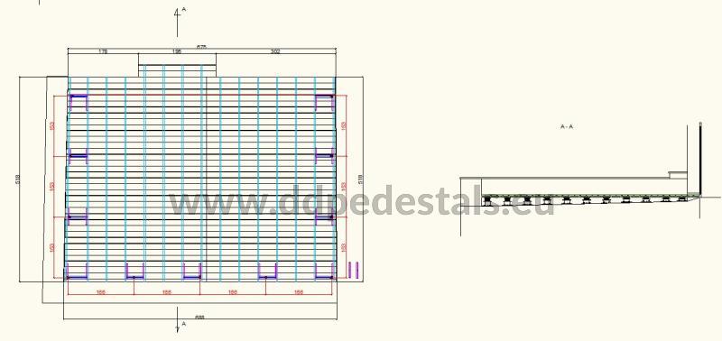 projekt podniesionego tarasu wentylowanego na wspornikach regulowanych z desek i legarów