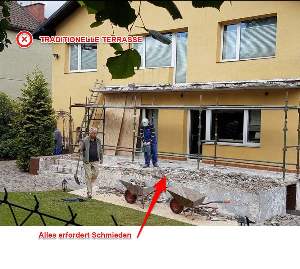 Schmieden von Fliesen auf der Terrasse, umfassende Reparatur der Terrasse.