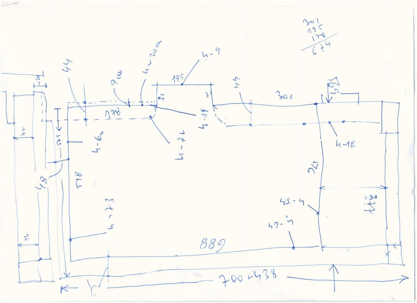 Zeichnung, Maße, Inventar der Terrasse, die auf das verstellbare Stelzlager gelegt wird.