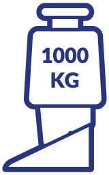 Hier ist eine Grafik mit einem Gewicht von 1000 kg