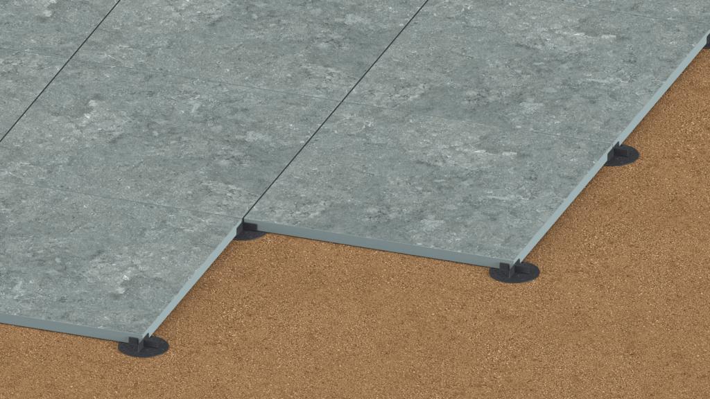 ceramic tiles on gravel