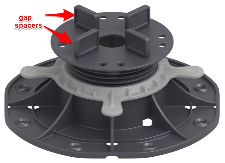 gap spacers in the tile of the adjustable pedestals