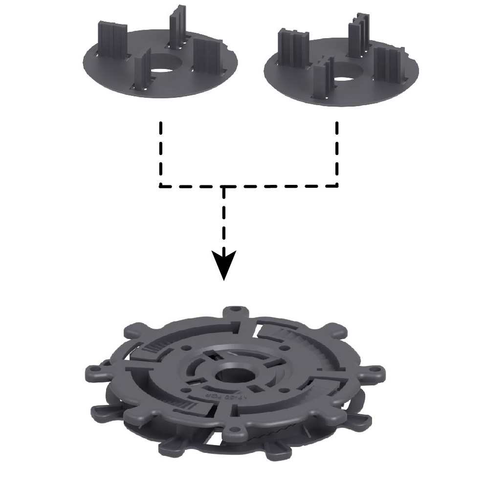 rotating disk with distance sheets for the gap on the terrace