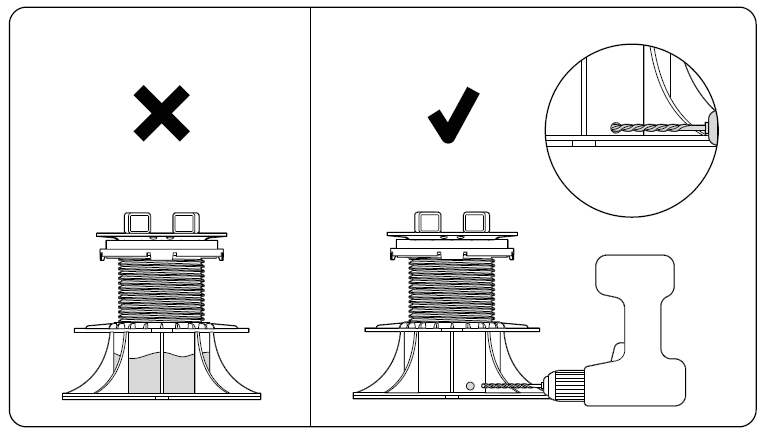 Water drainage from the adjustable pedestal