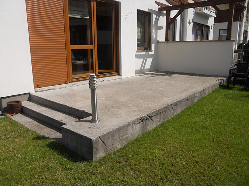 a concrete foundation is a stable foundation for a ventilated terrace