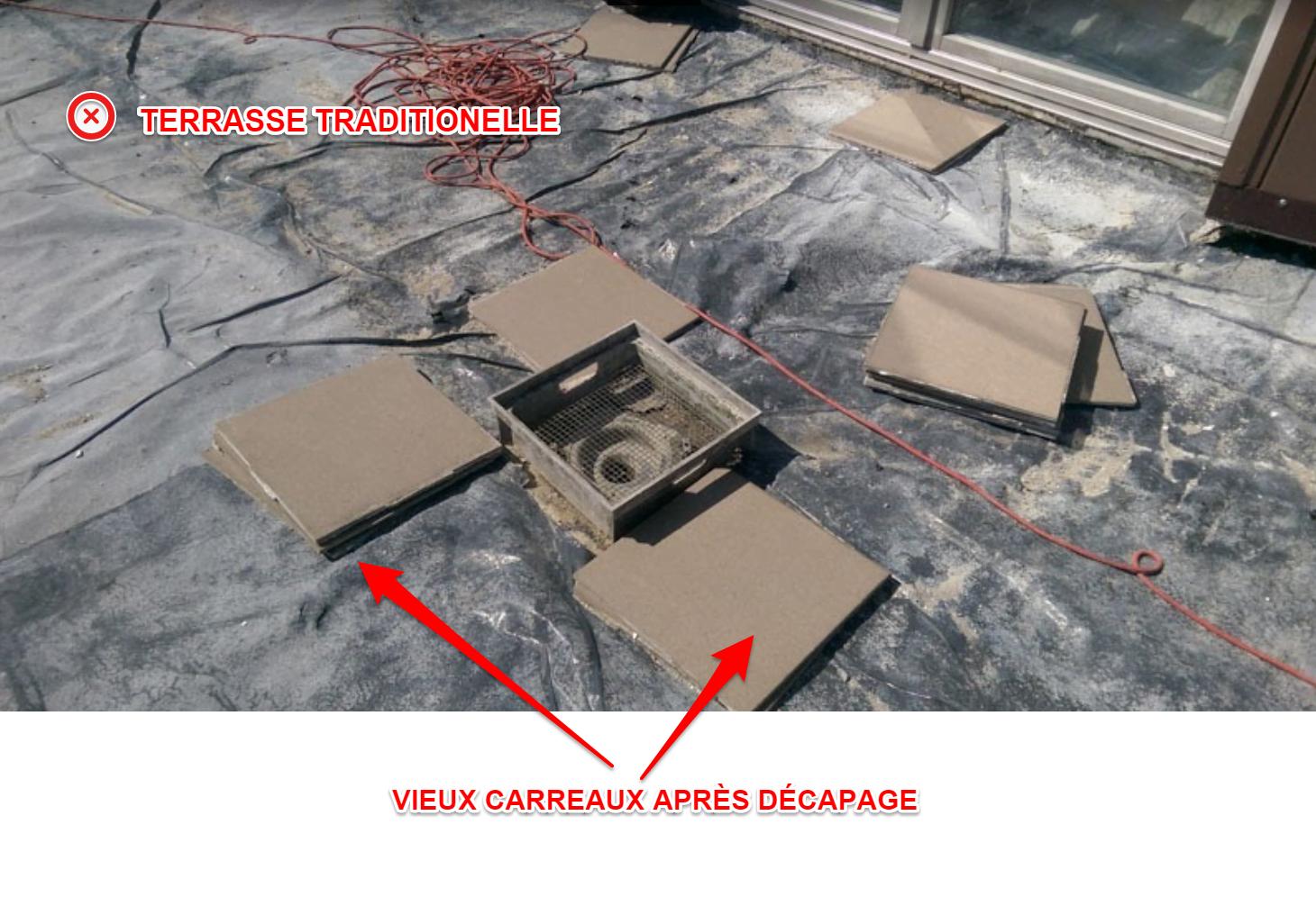 carreaux fissurés sur la terrasse