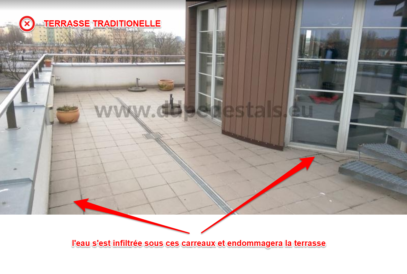 Rénovation de la terrasse - réparation des carreaux détachés