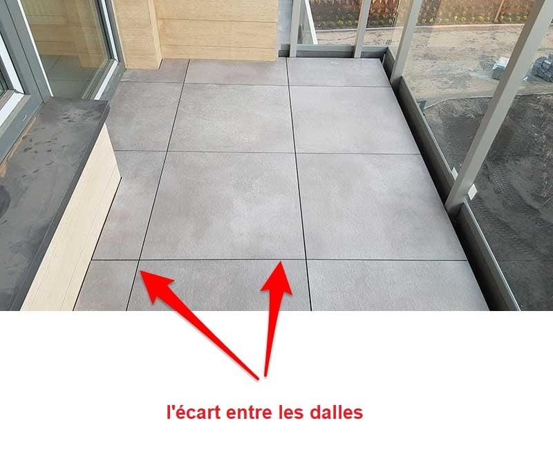 L'écart entre les dalles dans les terrasses ventilées